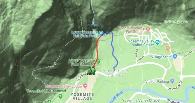 Lower Yosemite Falls Map