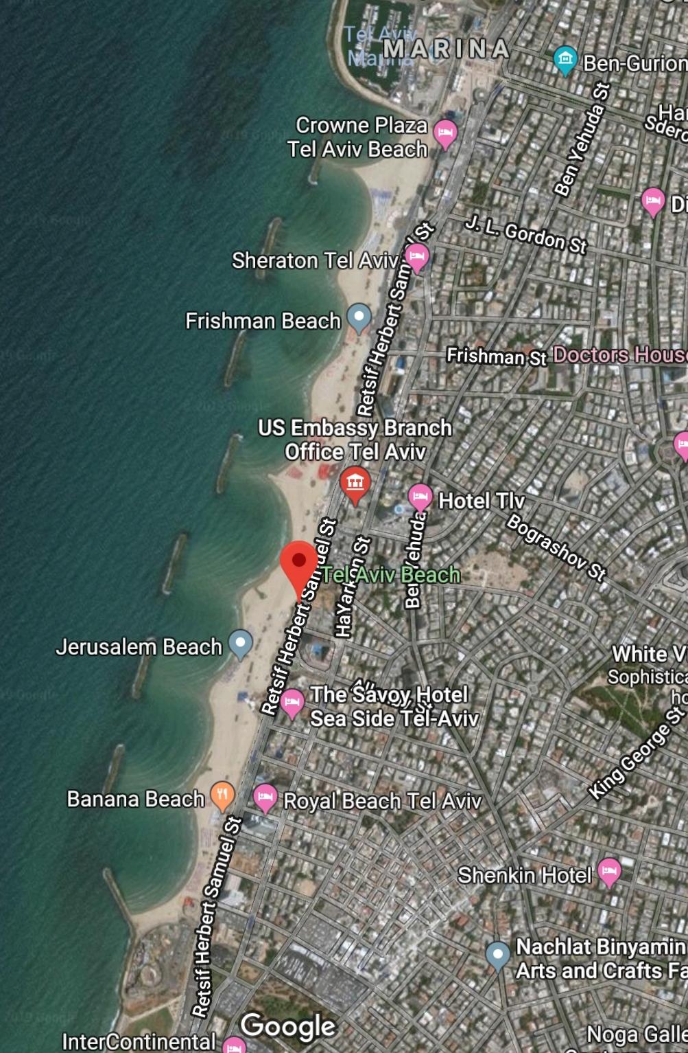 Tel Aviv Beach Map